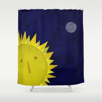 sun and moon Shower Curtains featuring Sun and moon by Inmyfantasia