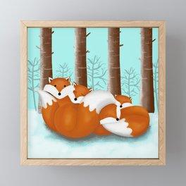 Slepping foxes Framed Mini Art Print