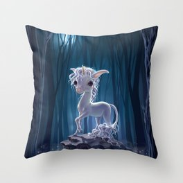 night unicorn Throw Pillow