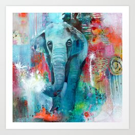 The Elephant and The Butterfly Art Print