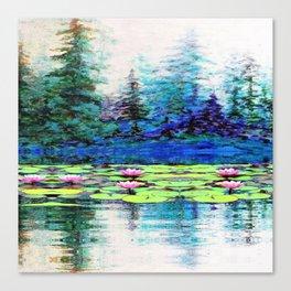 BLUE SPRUCE GREEN LILY PADS LAKE ART Canvas Print