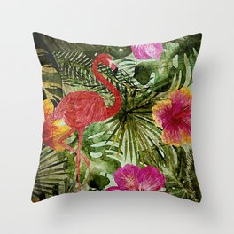Tropical Vintage Exotic Jungle- Floral and Flamingo watercolor pattern Throw Pillow