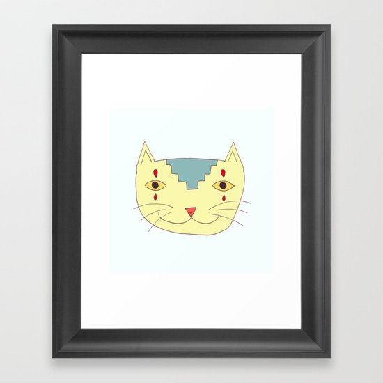 Aztec Cat Framed Art Print