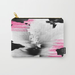 Floral glitch | modern black white flower photography pink watercolor brushstroke glitch effect Carry-All Pouch