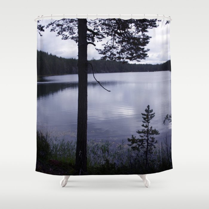 Blue Moment Lake View Shower Curtain