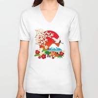japan V-neck T-shirts featuring Japan by rie_lalala