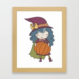 Happy Pumpkin Witch Framed Art Print
