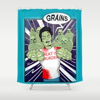 vegetarian Shower Curtains featuring Once a vegetarian... by OneAngryBear