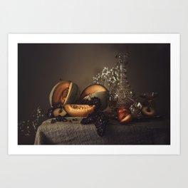 Still Life with Cantaloupe Art Print