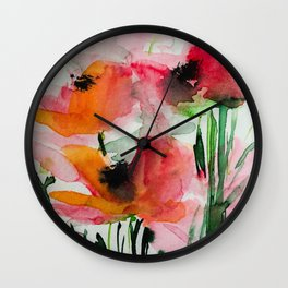 red flowers in the garden Wall Clock