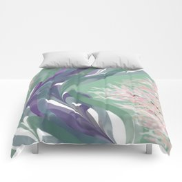 Deep Ocean River Abstract In Soft Green and Purple Comforters