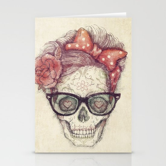 Hipster Girl is Dead Stationery Cards