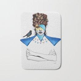 Blue Girl & Black Bird Bath Mat