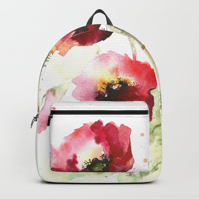 Watercolor flowers of poppy Backpack