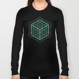 Sacred Geometry - glowing energy lines - cube and flowers Long Sleeve T-shirt