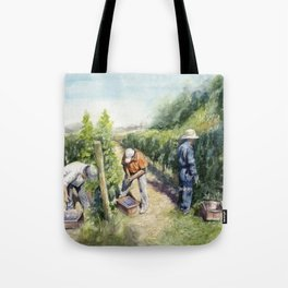 Vineyard Watercolor Landscape Wine Grapes Nature Tote Bag