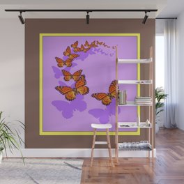 Monarch Butterflies Migration in Lilac Purple Graphic Art Wall Mural