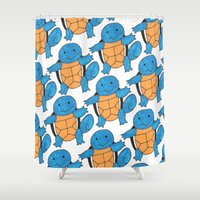 squirtle Shower Curtains featuring  1 Squirtle, 2 Squirtle, 3 Squirtle, 4 by pkarnold + The Cult Print Shop