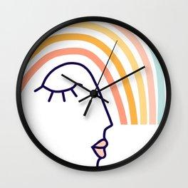 Rainbow Head #lineart Wall Clock