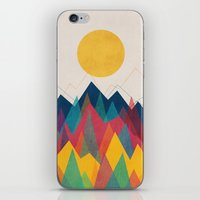 contemporary iPhone & iPod Skins featuring Uphill Battle by Picomodi