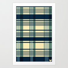 Blue Plaid Pattern Art Print