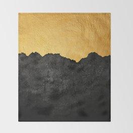 Black Grunge & Gold texture Throw Blanket