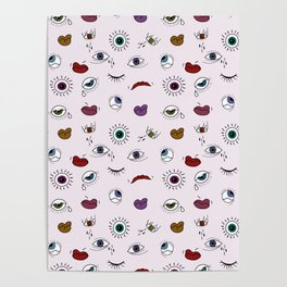 Eyes and mouths pattern II Poster