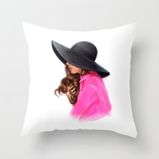 Lady in Purple Throw Pillow
