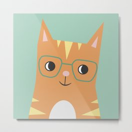 Tabby Cat with Glasses Metal Print