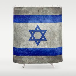 Flag of the State of Israel - Distressed worn patina Shower Curtain