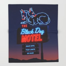 The Black Dog Motel Throw Blanket