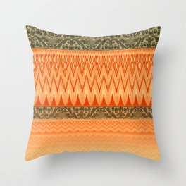 crochet mixed with lace in warm mood Throw Pillow