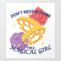 magical girl Art Prints featuring Magical Girl by ToppledCards Designs
