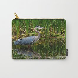 Great Blue Heron Hunting Along the River Carry-All Pouch