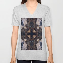 Ornamental Pattern in blue, warm brown and white Unisex V-Neck
