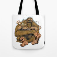 sasquatch Tote Bags featuring Sasquatch by Gregery Miller