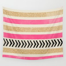 PINK AND GOLD STRIPES AND ARROWS Wall Tapestry