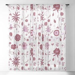 Pink and white floral with wild roses Sheer Curtain