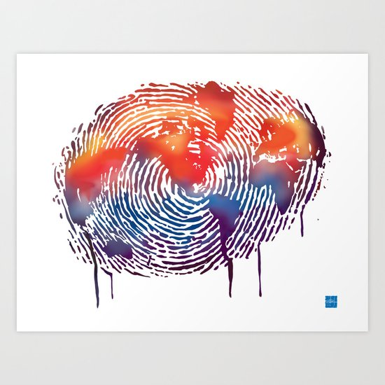 global map finger print Art Print