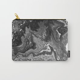 Izumi - spilled ink marble landscape abstract painting handmade art print texture black and white Carry-All Pouch