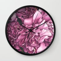 peonies Wall Clocks featuring Peonies by Jada Fitch