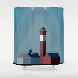 Northern landscape, minimalist illustration, nordic style, Sweden, Finland, Norway, Denmark Shower Curtain