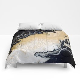 Black Gold: Acrylic Pour Painting Comforters