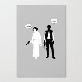 "Han Solo Princess Leia ""I Love you""  Canvas Print"