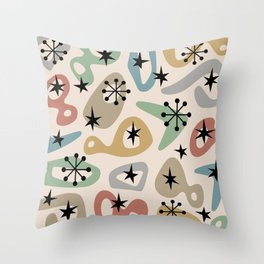 Retro Mid Century Modern Spaced Out Composition 331 Throw Pillow