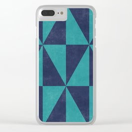 Geometric Triangle Pattern - Turquoise, Blue Clear iPhone Case