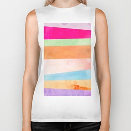 Modern Abstract Rainbow Watercolor Stripes Pattern Biker Tank