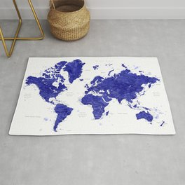 "Navy blue watercolor world map with cities, ""Ronnie"" Rug"