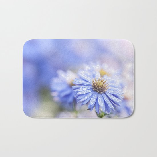 Blue Aster in LOVE - Flowers Flower Floral Bath Mat