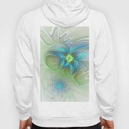 Flying Away, Abstract Shining Fractal Art Hoody